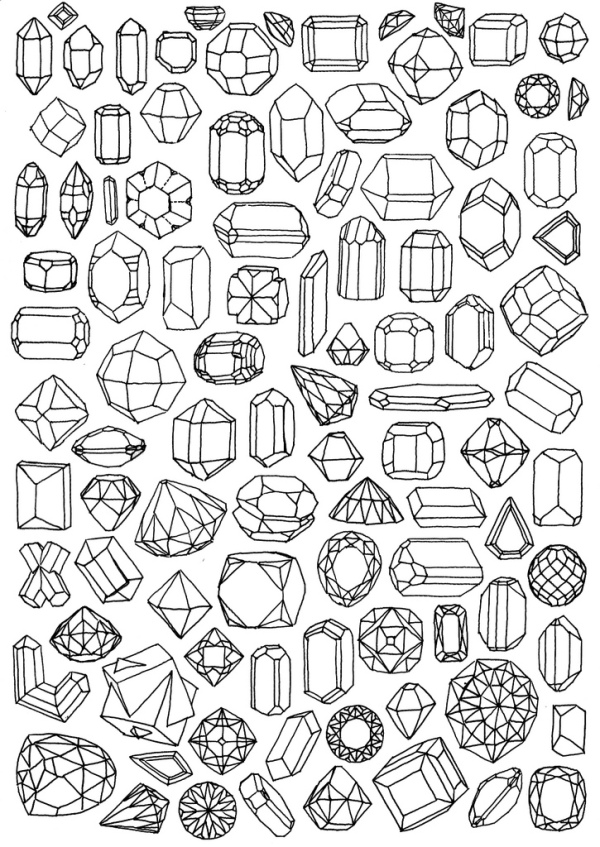 Line Drawing Jewel : Paper gems bee of design s