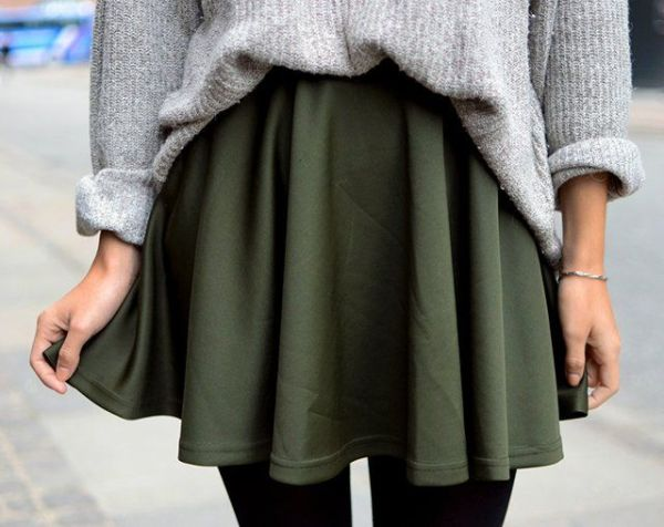green skirt and sweater
