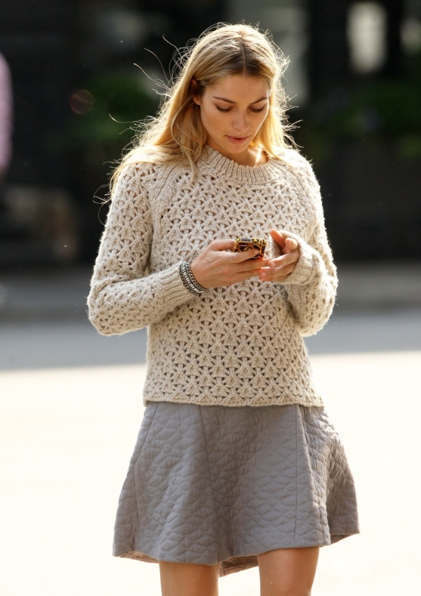 sweater and grey skirt